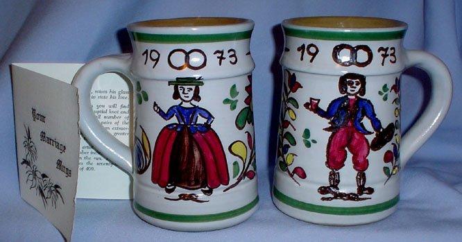Austrian Stoneware Hand MadeColorful Wedding Mugs 1973 35th Anniversary