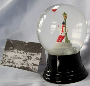 Vintage Austrian Glass Perzy Snowglobe Jolly Beer Drinker