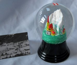 Vintage Austrian Glass Perzy Snowglobe Alpine Church Steeple