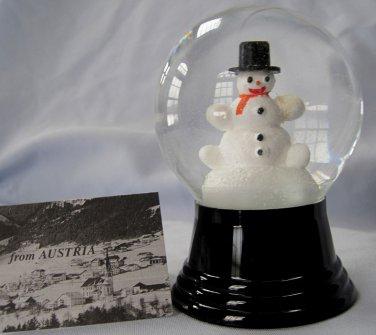 Austrian Perzy Glass Snowman Snowdome Waterglobe Snowglobe