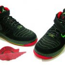 Men jordan Fusions Black Green and Red