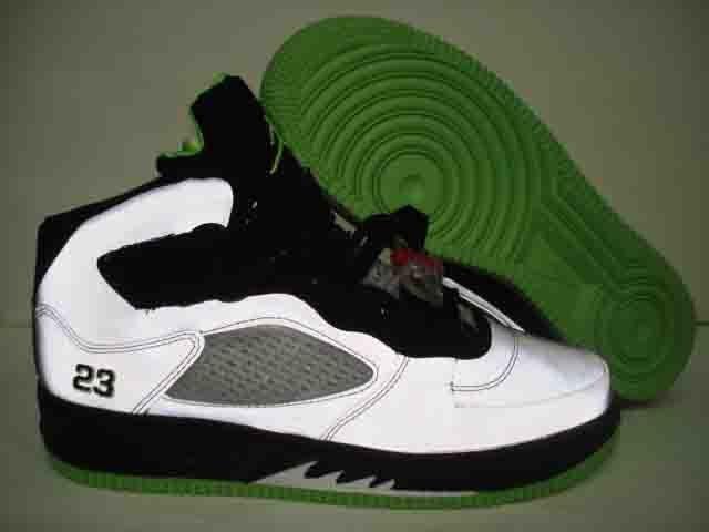 Men jordan Fusions Green White and Black