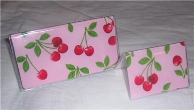 Pink Cherry Checkbook Cover and Card Holder Set