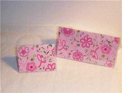 Breast Cancer Pink Ribbon Checkbook Cover Set