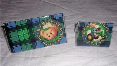 John Deere Blue Jean Teddy Checkbook Cover Set