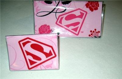 Pink Superman Checkbook Cover Set