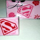 Pink Superman Checkbook Cover Set