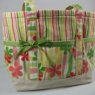 Summer Floral and Stripe Beach Tote Bag