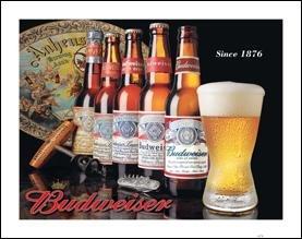 Budweiser Beer Bottle History Tin Sign #1155
