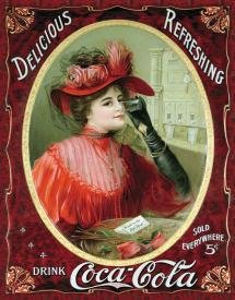 Coca-Cola Victorian Red Dress Tin Sign #1054