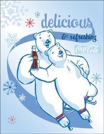 Coca-Cola Polar Bear Ice Skates Tin Sign #1234