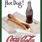 Coca-Cola Bottle and Hot Dog Tin Sign #1302
