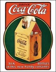 Coca-Cola Handy 6 Pack Bottles Tin Sign #1049