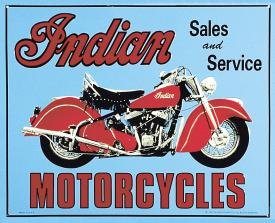 Indian Sales And Service Motorcycle Tin Sign #127