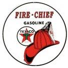 Texaco Gasoline Fire Chief Round Tin Sign #204