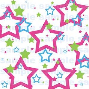 Miffle Stars - 12x12 - Pink, Blue & Green