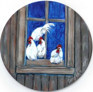 Chickens in Window