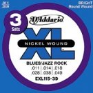 EXL115 Nickel-Blues/Jazz Rock Electric Guitar Strings 3 pack