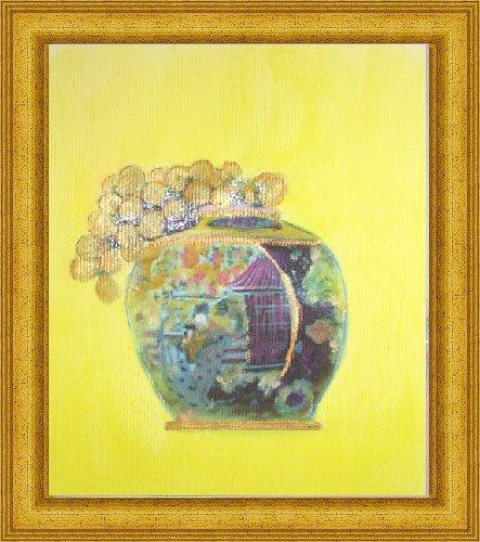 Golden Grapes in Oriental Vase