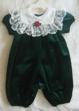 Infant Girl Christmas Onsie - Green Velvet & Lace - Size 3 mos. - Padded White Hangar incl.