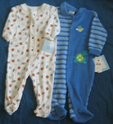 Infant Boy Footed Cotton Sleepers Size 6-9 mos. NEW NWT