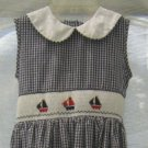 Girl's Blue White Gingham Ruched Summer Dress – Embroidered Sailboats - Size 6X