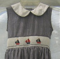 Girl�s Blue White Gingham Ruched Summer Dress � Embroidered Sailboats - Size 6X