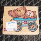 Rubber Stamp - Bear and Kitty Cat in Wagon - Rubber Stampede VINTAGE