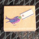 Rubber Stamp - Bird with Gift Tag - Rubber Stampede - Charles Wrysocki NEW