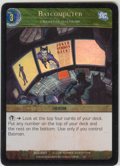 Batcomputer, Criminal Database FOIL DCL-037 (U) DC Legends VS System TCG