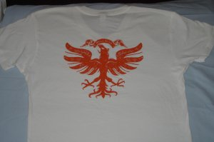 Quiet Grind White V-Neck QG Logo and Vintage Eagle Design