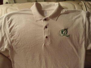Quiet Grind White Polo Shirt Green QG Logo