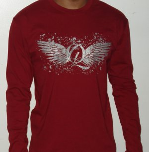 Quiet Grind Cardinal Red Fitted Long Sleeve Wing Q Design
