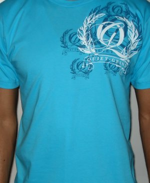 Turquoise Blue Quiet Grind Multi Q Crewneck T-shirt (2 photos)