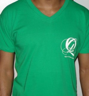 Quiet Grind Green Vneck Wing and Q Design (2 photos)