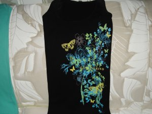 Quiet Grind Black Female Tank Butterfly and Flower Design