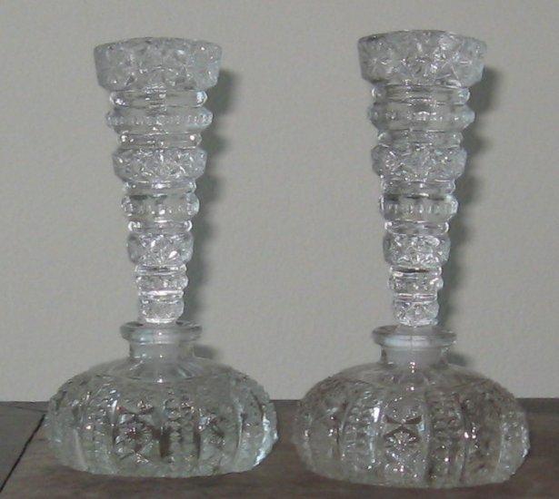 set of molded crytal perfume bottles