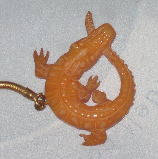 italian bakelite or galith alligator charm