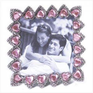 Pewter Pink Hearts Frame