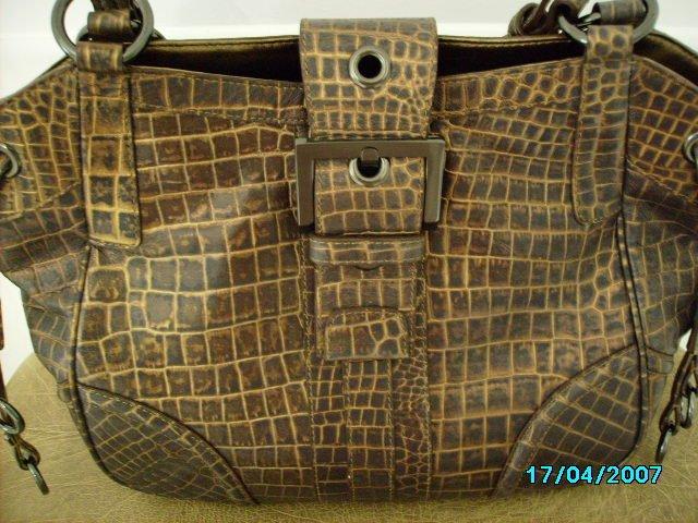 Charlie Lapson croco embossed leather designer handbag