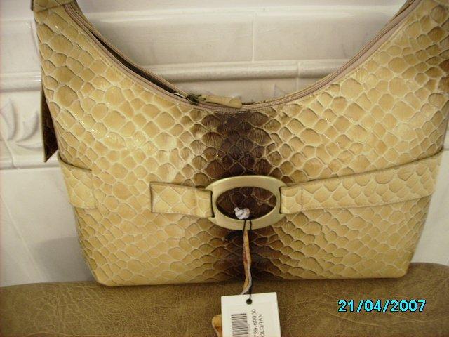 Charlie Lapson Designer croc embossed leather handbag