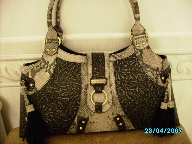 Sharif Suede designer handbag with tooled leather insets