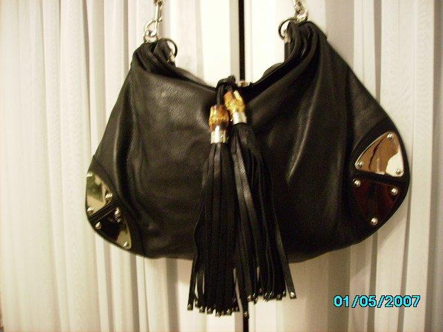 Designer inspired  soft leather high end black hobo