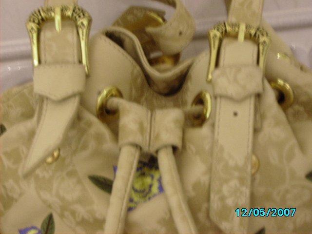 Carlos Falchi designer draw string soft leather duffel bag