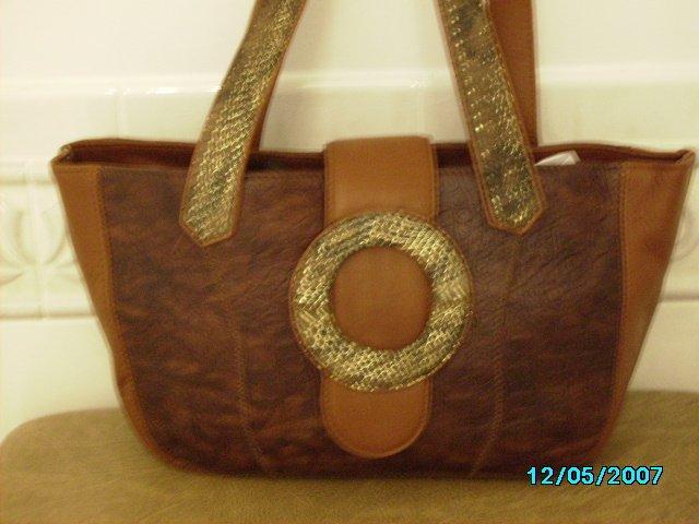 Carlos Falchi designer croco embosed leather and real lizard bag