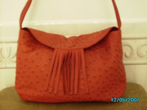Carlos Falchi designer real ostrich and leather bag
