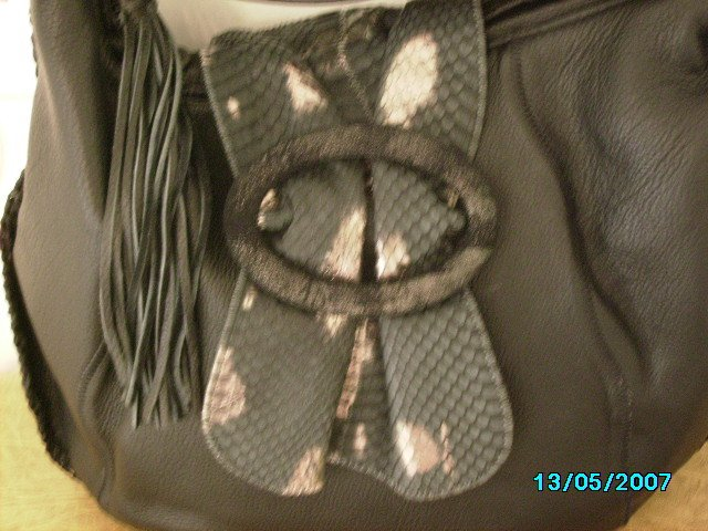 Carlos Falchi designer soft leather and lizard shoulder bag