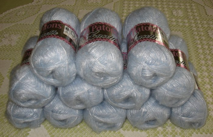 "$78 Lot--12 Skeins Lacette ""Beautiful Blue"" Yarn + Free Gift!"