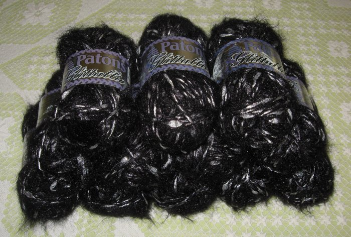 "$80 Lot--12 Skeins Glittallic ""Black Tinsel"" Yarn + Free Gift!"
