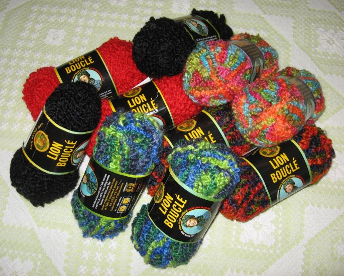 $50 Mixed Lot--10 Skeins Lion Boucle Yarn + Free Gift!